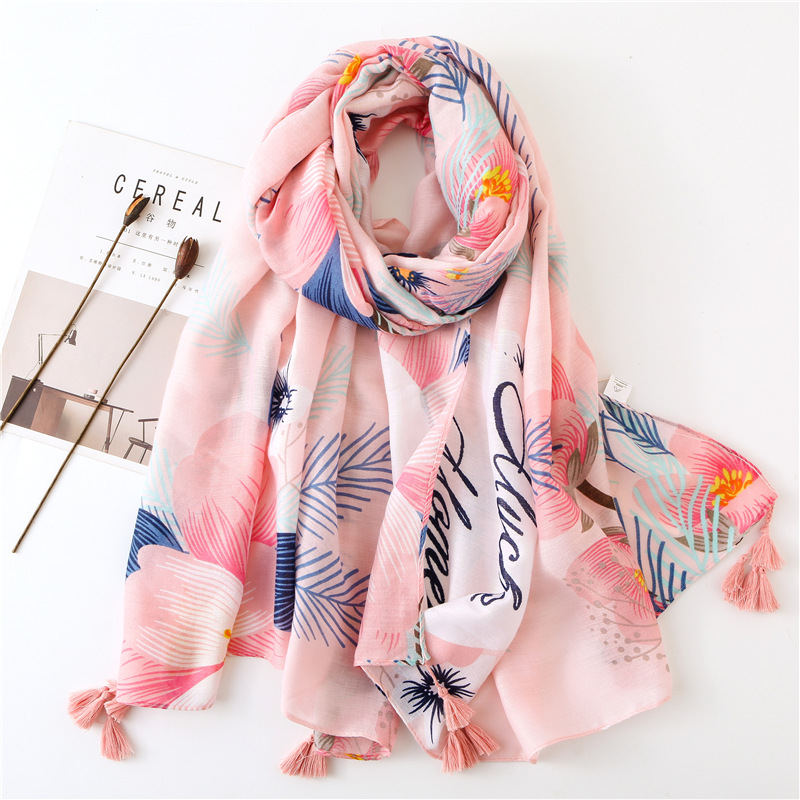 Scarf Korean Style Silk  Gauze Scarf Spring And Summer Cotton And Hemp Wraps Seaside Decoration Sunscreen Shawl Scarf