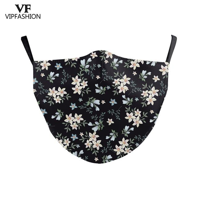 VIP FASHION Colorful Floral Printting Mouth Mask Protective  Anti Dust Mouth-Muffle Washable Fabric Face Mask Reusable 1