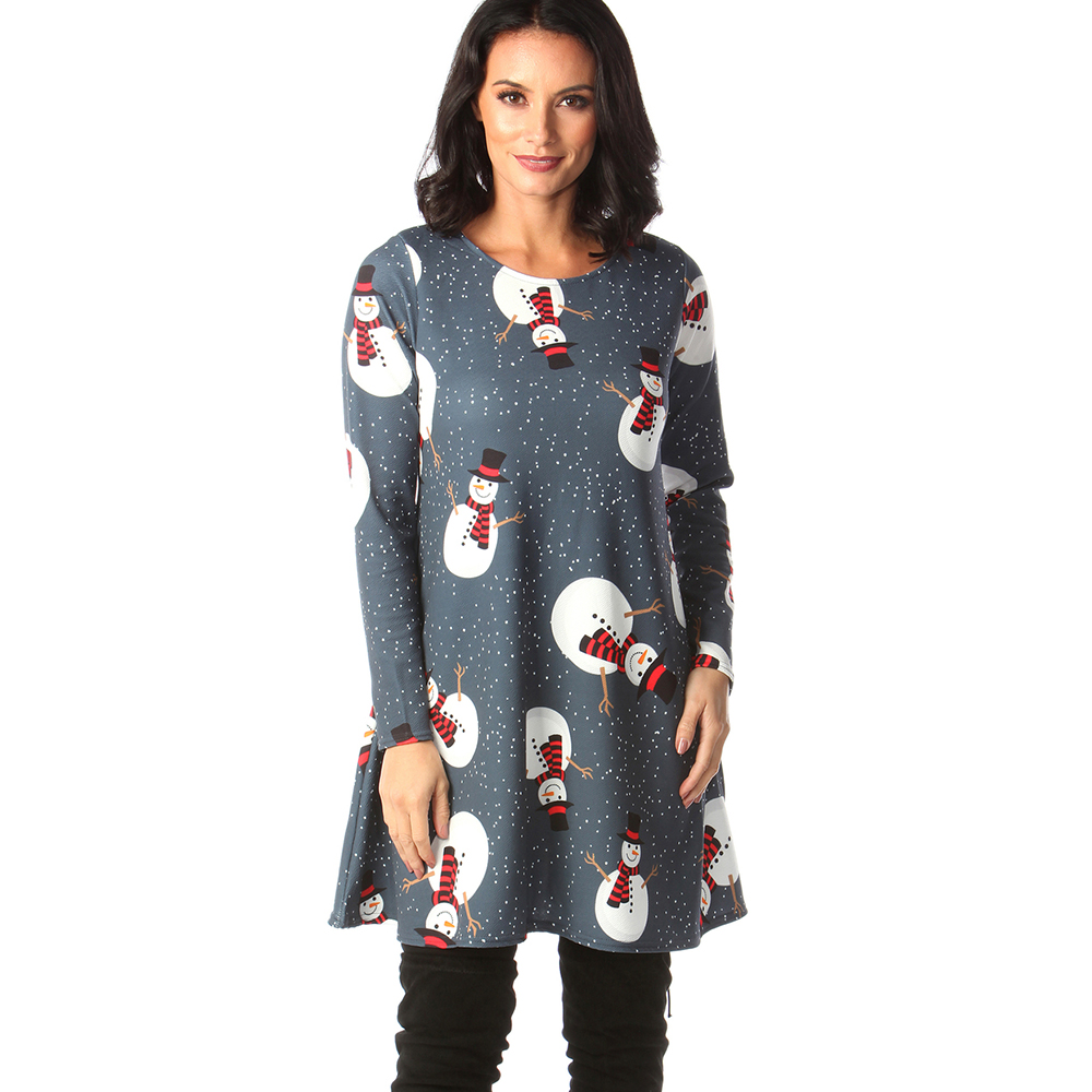 Print Long Sleeve Autumn Winter Christmas Dress Women 19 Casual Loose Short Party Dress Plus Size S-5XL Vestidos 28