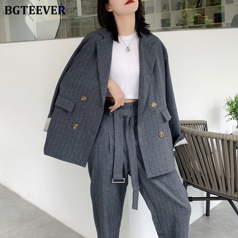 BGTEEVER Casual Women 2 Pieces Sets Double-breasted Blazer & Belted Pant Office Ladies Pant Suits 2020 Spring Loose Blazer Sets