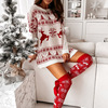 Christmas Snowflake Elk Print Party Dress Winter Autumn Long Sleeve Mini Dress Women Elegant Off Shoulder Knit Sweater Dress 6