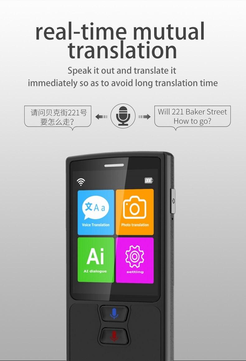 Image 4 - Tłumacz głosowy tłumaczenie zdjęć 82 języki AI inteligentny dialog ucz się języków obcych szybko tłumacz podróży czarnyTranslatory   -