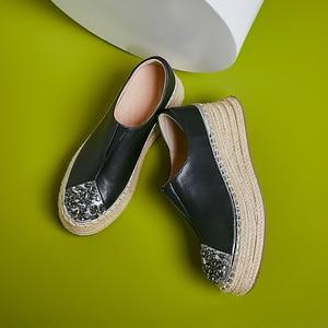 Image 1 - 여성 정품 가죽 슬립 온 플랫폼 플랫 로퍼 레저 부드러운 편안한 모카신 라인 석 대마 두꺼운 단독 캐주얼 신발