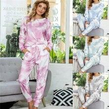 Женский пижамный комплект Повседневная Пижама с принтом и завязкой
