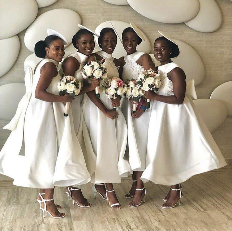 2020 White Bridesmaid Dresses African Junior Wedding Party Guest Gown Maid of Honor Dress Big Bow Appliqued Custom Made