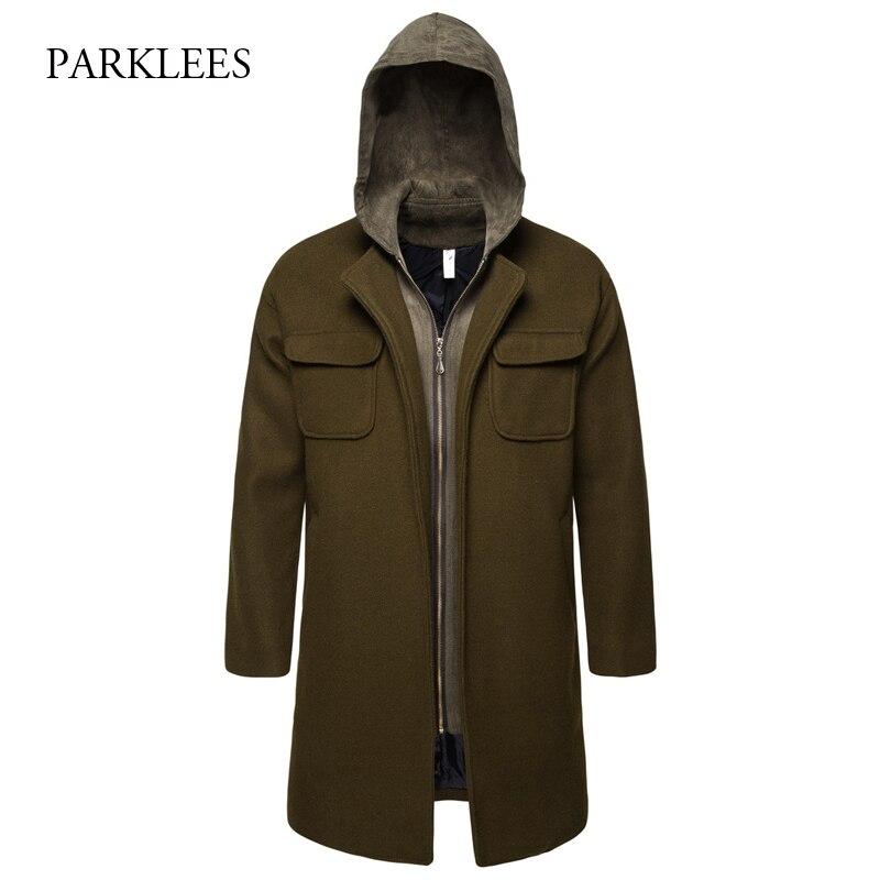 Fake Two Piece Men's Woolen Trench Coat 2019 Winter Army Green Hooded Zipper Windbreaker Men Casual Long Manteau Homme