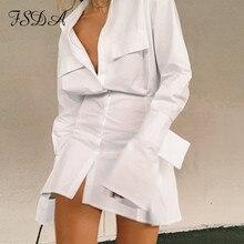 FSDA V Neck Long Sleeve Shirt Dress Bandage 2020 White Women Sexy Mini A Line Office Autumn Casual Tunic Dresses Fashion