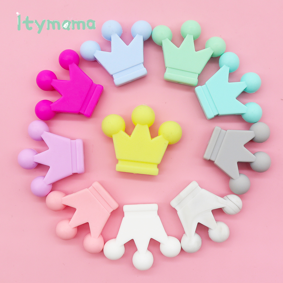 10pc Baby Teether Crown Silicone Beads Pearl Bpa Free Infant Teething Toys Nursing Accessories For DIY Necklace Pacifier Chain