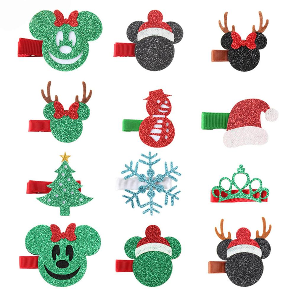 Baby Hairpins Girl Christmas Felt Pads Barrette Children Glitter Minnie Snowflake Snowman Tree Hair Accessories Xmas Hair Clips
