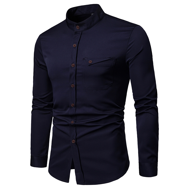 NEGIZBER New Spring Male Shirts Solid Stand Collar Slim Fit Shirt Men Fashion Casual Long Sleeve Cotton Shirts Men US Size