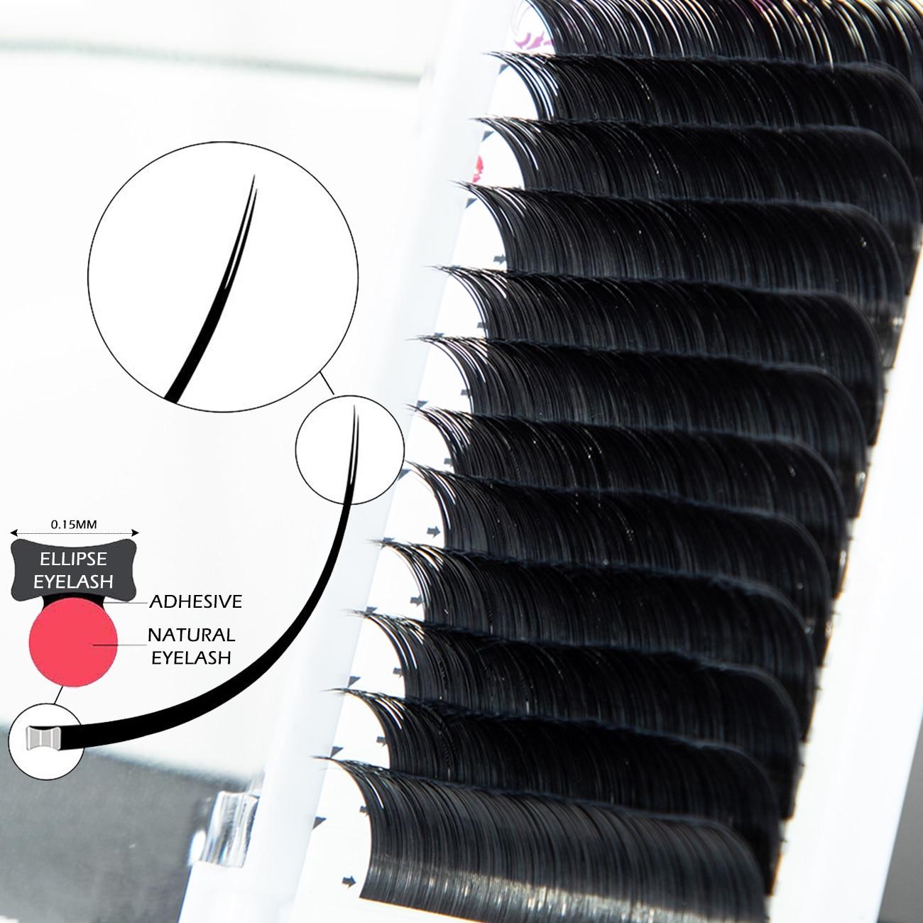 2019 New Matte Flat Eyelash Extensions Individual Mink 0.15 0.20 0.25 Softer Ellipse Flat Lash Split Tips Ligher Volume Looking