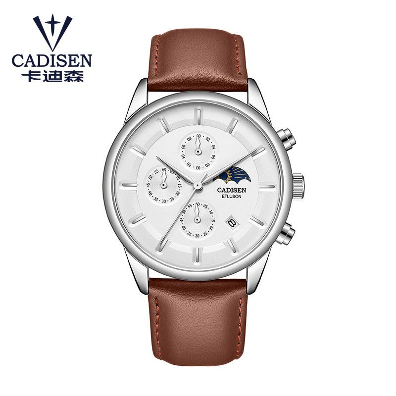 CADISEN Mens Watches Top Brand Luxury Military Watches Sports Quartz Wrist Watch Waterproof Leather Male Clock Reloj Hombre 9066