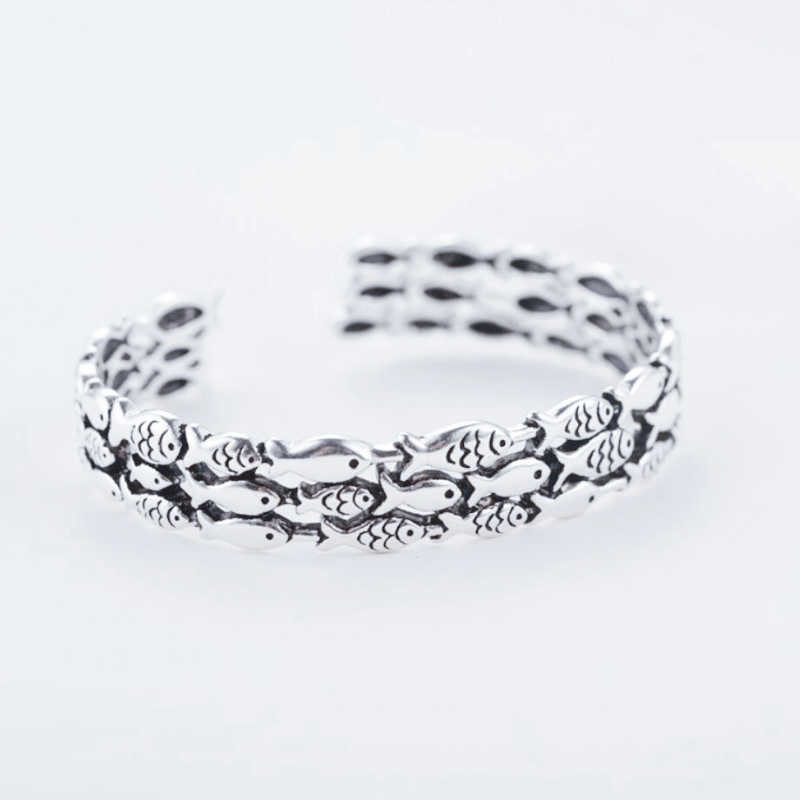 Retro Fish New Cerative Cute 925 Sterling Silver Temperament Female Trendy Resizable Opening Bangles SBR006