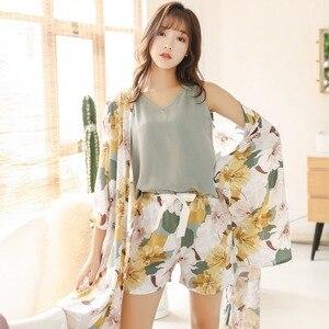 Image 4 - QWEEK Women Pajamas Sets 3 Piece Floral Printed Pijamas Set Top and Shorts Pyjamas Sleepwear Night Suit Set Home Clothes 2020
