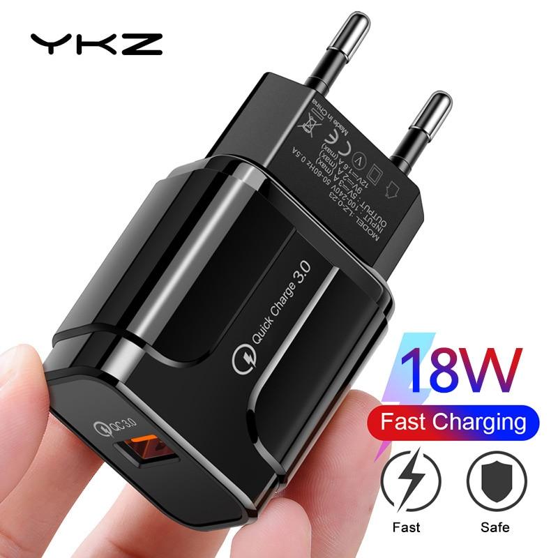 YKZ USB зарядное устройство, мобильный телефон зарядное устройство 18W QC3.0 Быстрая зарядка EU US настенное зарядное устройство для iPhone, Samsung, Xiaomi, ...