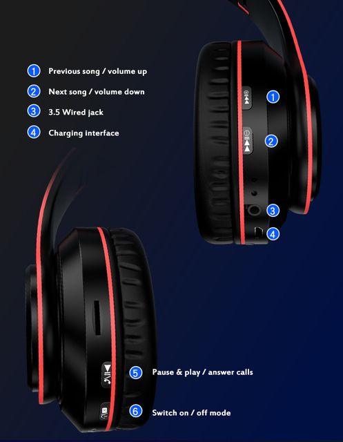Fast Shipping Portable Bluetooth Wireless Headphones Stereo Foldable Headset Audio Mp3 Adjustable Earphones With Mic For Music 2