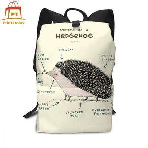 Image 2 - Hedgehog Rucksack Hedgehog Rucksäcke Schule Hohe qualität Tasche Männer Frauen Muster Trend Student Taschen