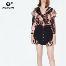 ROHOPO Autumn Long Sleeve Pullover Floral Blose Baggy Collar Lace Neckline Ladies Pink Straight Top Shirt #2217 v neckline fluted sleeve gingham top