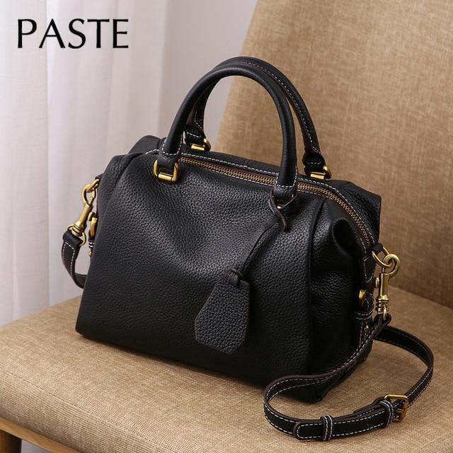 2020 Genuine Advanced Leather Hand Bag Womens Handbag Large Boston Bag All-match Female Shoulder Bag Luxury Casual Tote Bags