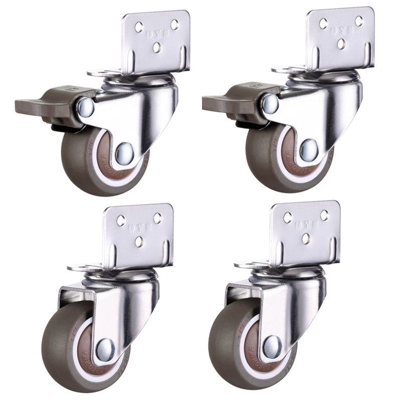 4pcs Furniture Casters Wheels Soft Rubber Swivel Caster Quite Roller wheels for trolley Baby Crib Bed Wheels Household Accessory-0