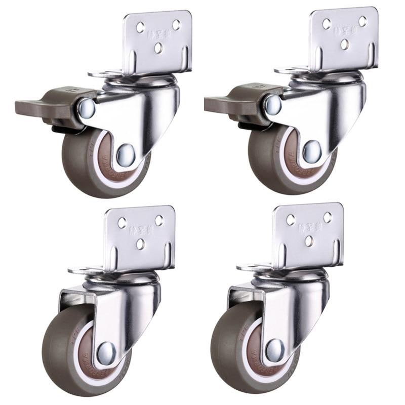 4 pièces roulettes de meubles roues en caoutchouc souple roulette pivotante tout à fait roues de rouleau pour chariot bébé lit de berceau roues accessoire de ménage