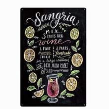 Design original do vintage sangria cocktail receita estanho sinais de metal arte da parede, folha de flandres grossa impressão cartaz parede decoração barra