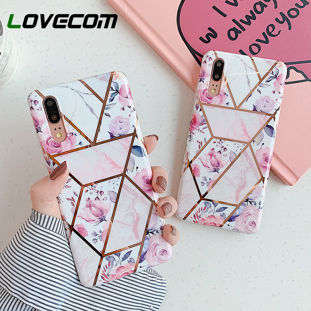 LOVECOM Cute Pink Flower Phone Case For Huawei Mate 30 Pro Mate 20 P30 P20 Pro Lite Electroplated Soft IMD Back Cover Coque Gift