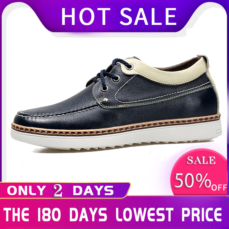 2019 Invisible Elevator Shoes For Men Height Increase Breathable Casual Men's Leather Shoes 3#15/15D50