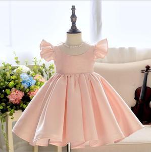 Розовое платье для крещения, кружевное Тюлевое платье принцессы с бусинами, праздничная одежда, платья на день рождения для девочек 1 год, кр...