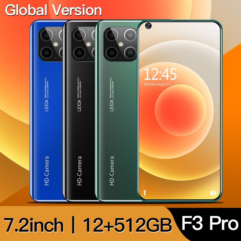 Глобальная версия F3 Pro 5G смартфон 12 ГБ 512 7,2 дюймовый MTK 6899 16MP + 32MP 4Gnetwork мобильных телефонов на базе Android сотовый телефон celulares