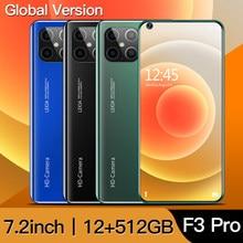 Versão global f3 pro 5g smartphone 12gb 512gb 7.2 polegada mtk 6899 16mp + 32mp 4gnetwork telefones celulares android celulares