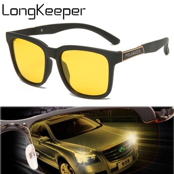 LongKeeper Polarized Night Vision Sunglasses Men Square Yellow Lens Sun Glasses Male Anti-Glare Goggles Driver gafas de sol sunglasses driving night vision lens sun glasses male anti uva uvb for men women with case