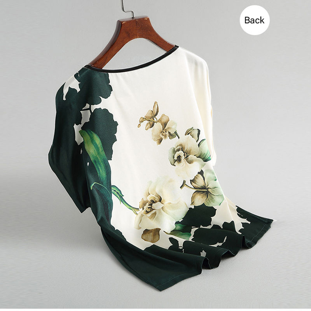 Women Silk Satin Blouses Plus size Batwing sleeve Vintage Print Floral Blouse Ladies Casual Short sleeve Tops 4