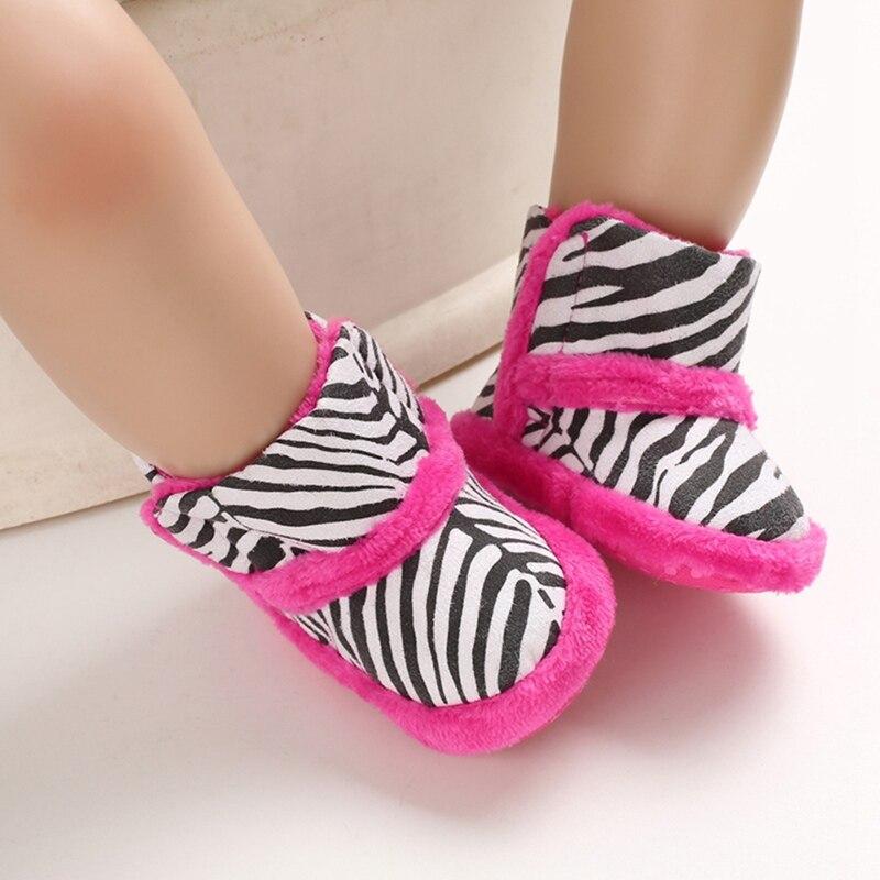 Winter Baby Boots Winter Warm Thicken Zebra Striped Print Velvet Shoes For Newborn 0-18M