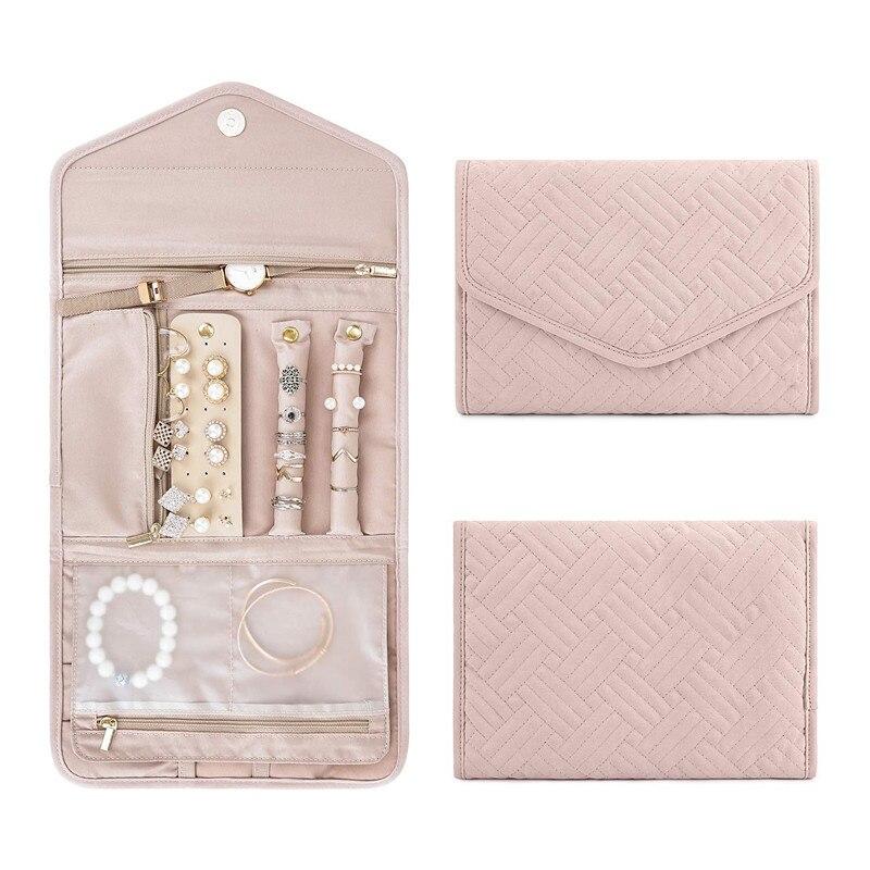 Travel Jewelry Organizer Roll Foldable Jewelry Case Jewelry Box Storage Box Ring Display Lady Case Portable Jewelry Organizer