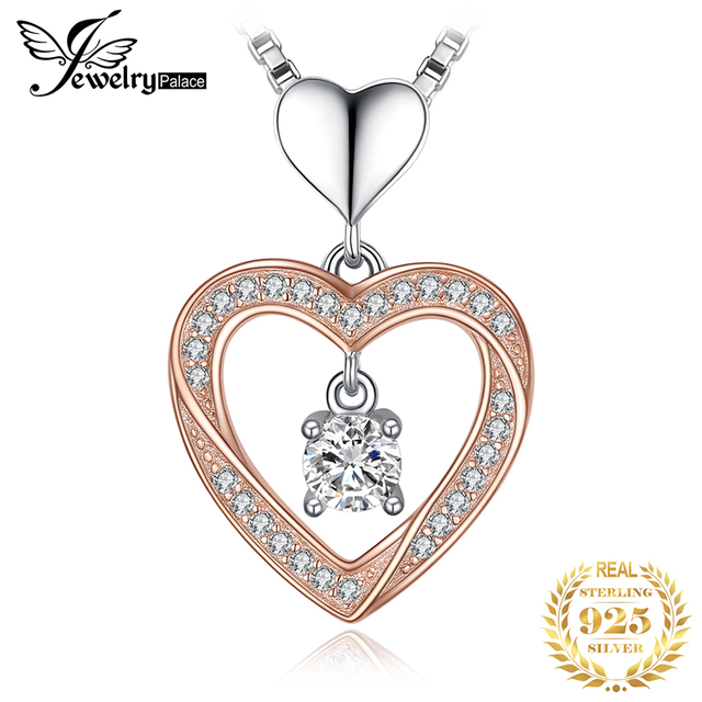 JPalace Heart Gold Silver Pendant Necklace 925 Sterling Silver Choker Statement Necklace Women Silver 925 Jewelry Without Chain