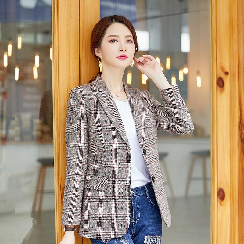Business Office Ladies Jacket Autumn New Single-breasted Plaid Women's Blazer Temperament Slim Long Sleeve Suit Female 2019