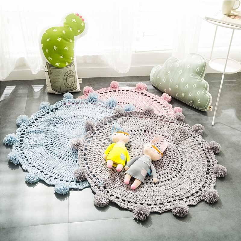 Tapis boule tricoté à la main pour bébé enfant gris rose bleu blanc tricot acrylique chambre salon décor ramper solide tapis de sol tapis