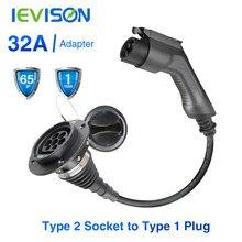 Adaptateur de chargeur de voiture électrique EV, câble de chargement de Type 2 entrée vers prise de Type 1 Flexible 32A 1 Phase pour Chevrolet, Fiat 500e...