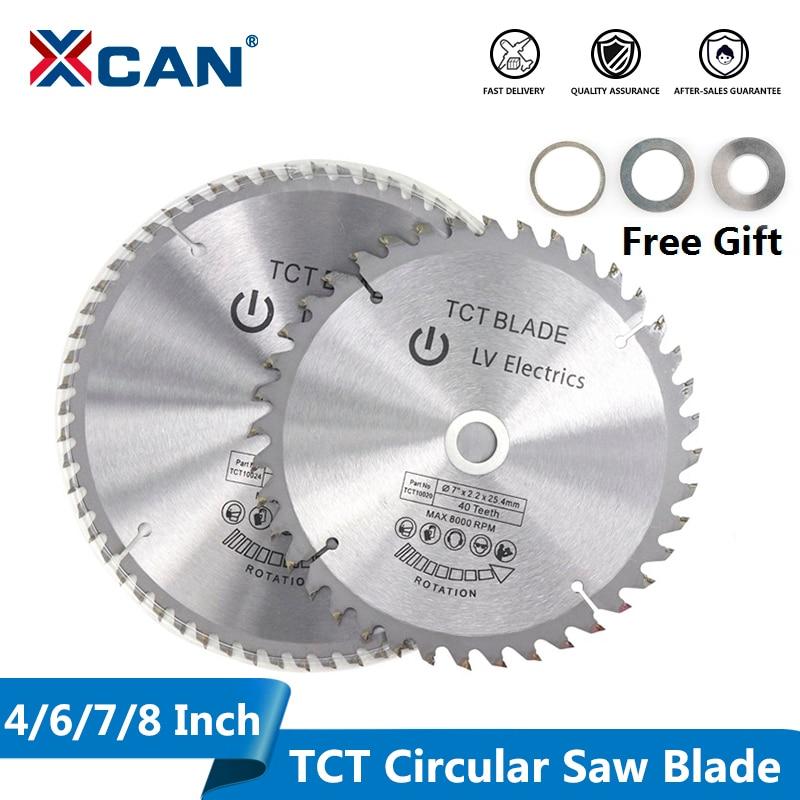 XCAN 1 шт. 4 ''6'' 7 ''8'' лезвие для пилы по дереву 30/40/60T TCT лезвие для циркулярной пилы для резки дерева пластика карбидный режущий диск