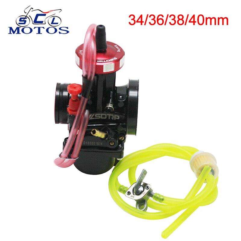 Sclmotos-Quad ventilation Carb PWK 34 36 38 40mm carburateur moto + interrupteur d'huile + tuyau de carburant + filtres à huile + 4 Clips pour Honda KTM