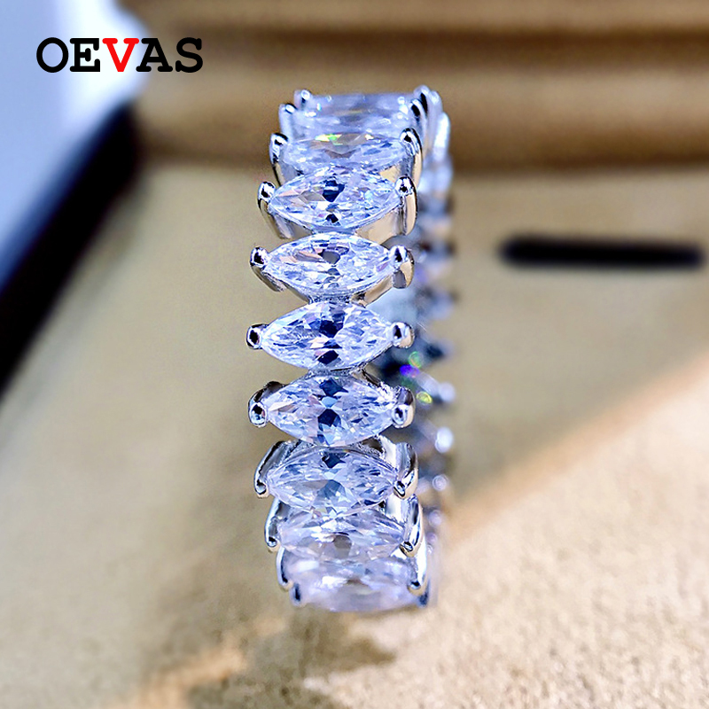 OEVAS 100% 925 Sterling Silver Sparkling 1 Row Full 3*5mm Horse Eyes High Carbon Diamond Engagement Rings For Women Fine Jewelry