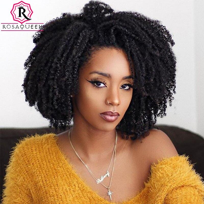 Афро кудрявые человеческие волосы для наращивания на заколках 100% человеческие бразильские волосы remy 4B 4C волосы на заколках на всю голову Rosa queen