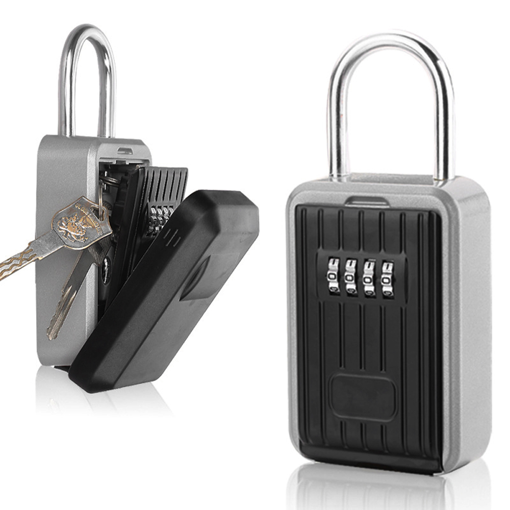 Wall Mounted Outdoor Key Storage Lock Box Wall Safe Key Box Keys Holder 4-digit Password Mini Safe Combination Padlock Black
