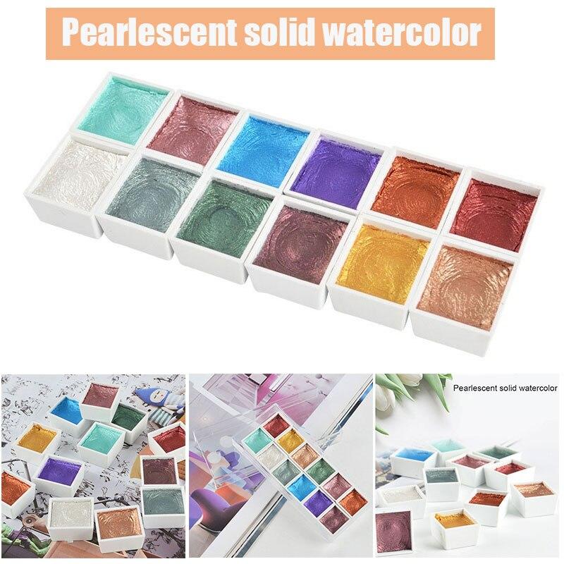 12 Цветов Портативный блеск акварельные краски в наборе; Декор в виде золотистых металлических пигмента краски инструменты DIY рисунок 2021