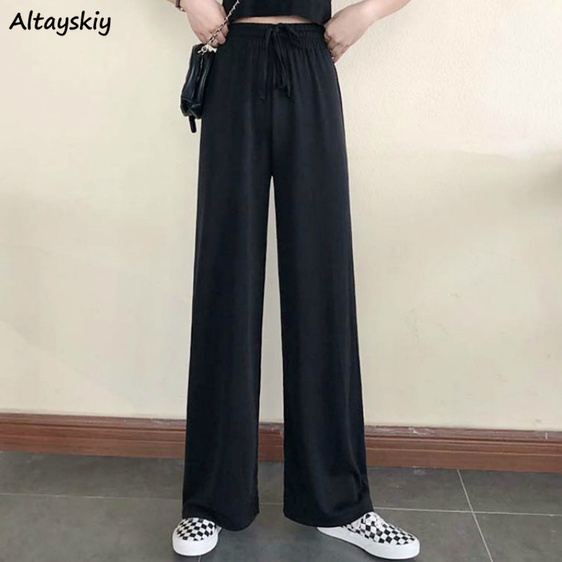 Wide Leg Pants Women Pure Black Lace-up Korean Style Loose Leisure High Waists Female Spring Long Daily Trousers Streetwear Fall