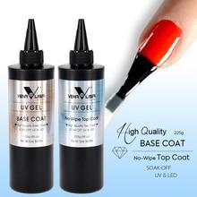 New nail gel 225 grams 8fl.oz no wipe topcoat nail gel polish big jar base coat soak off led nail gel
