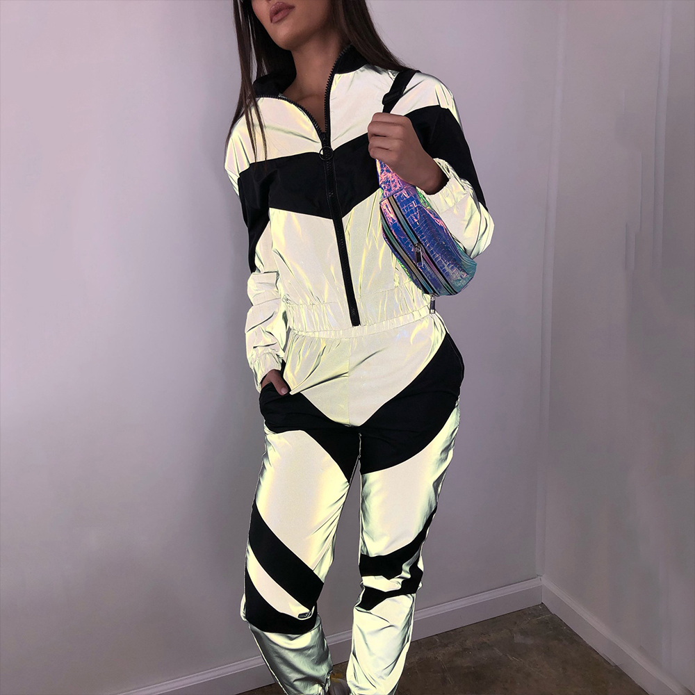 DAPHLIAC Reflective Fashion Women's Tracksuit Sports Suits For Women Zipper Patchwork Loose Female Set Trousers Ladies Track Top