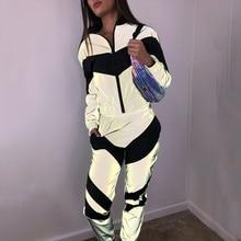 DAPHLIAC Reflective Fashion Women's Tracksuit Sports Suits For Women Zipper Patchwork Loose Female