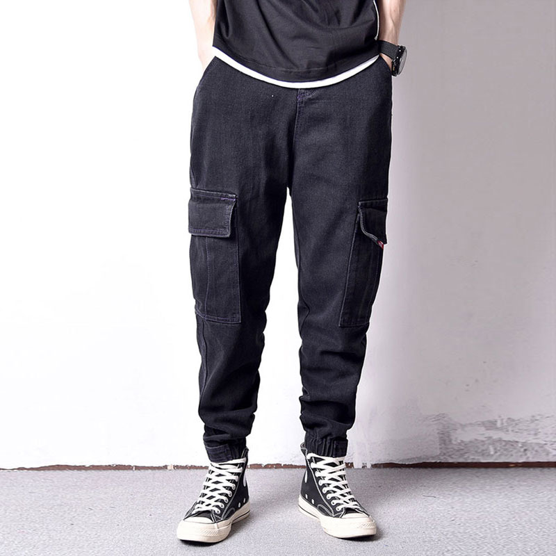 Japanese Fashion Men Jeans Black Color Vintage Designer Loose Fit Harem Cargo Pants Streetwear Hip Hop Jeans Men Joggers Pants